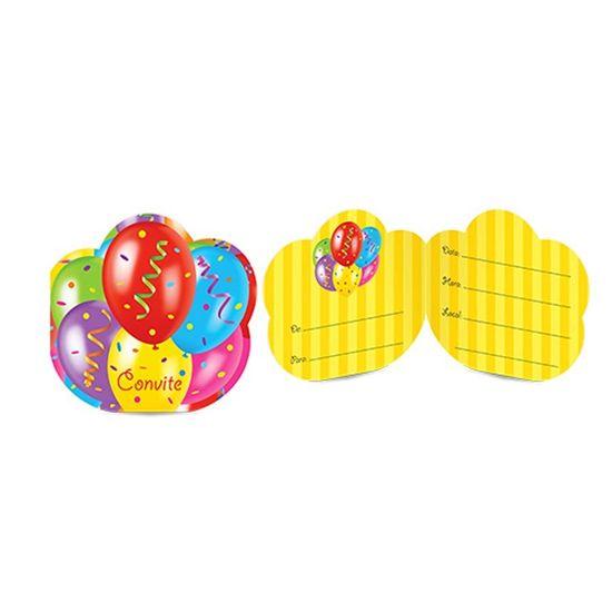 Convite de Aniversário Balões - 08 Un