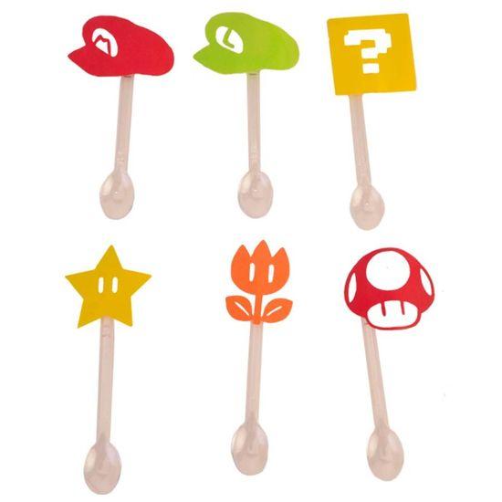 Festa Super Mário - Mini Colherzinha Super Mario Bros - 06 Un