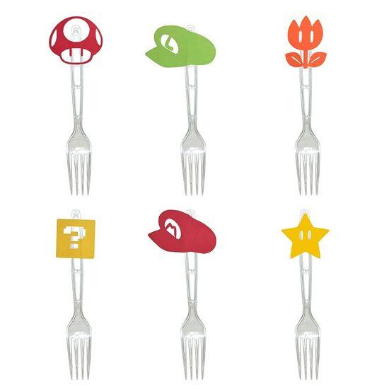 Festa Super Mário - Garfo para Sobremesa com Aplique Super Mario Bros - 06 Un