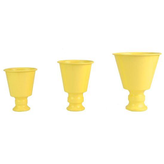 Trio de Vasos em Alumínio Amarelo