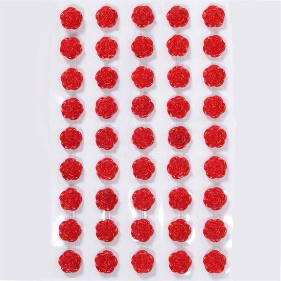 Cartela Mini Rosa Adesiva 12mm - Vermelha