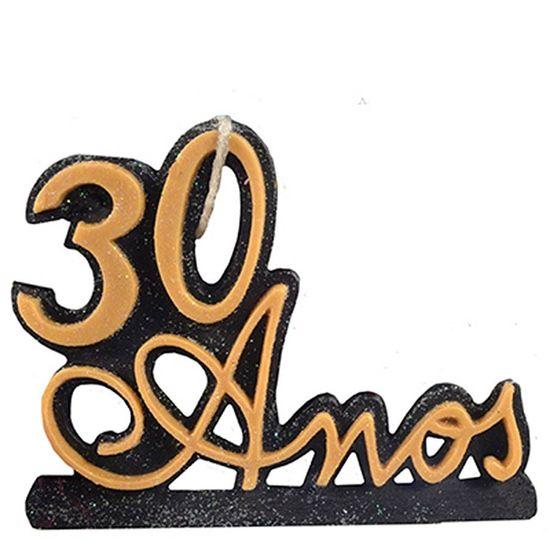 Vela 30 Anos Ouro/Preto