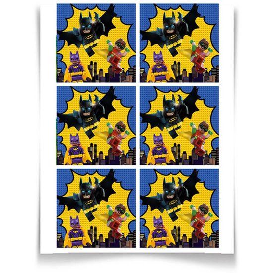 Festa Lego Batman - Adesivo Especial Quadrado Lego Batman - 12 Un