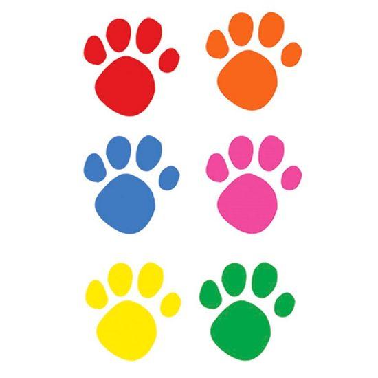 Festa Patrulha Canina - Adesivos Pegadas Coloridas de Cachorrinho - 10 Un