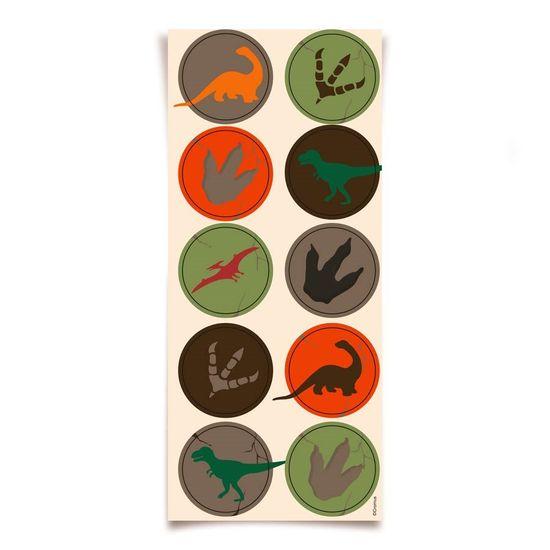 Festa Dinossauros - Cromus Mundo dos Dinossauros - Adesivo Redondo 30 unidades