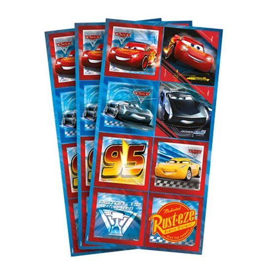 Festa Carros Disney - Adesivo Decorativo Quadrado Cars Disney 3 - 03 cartelas