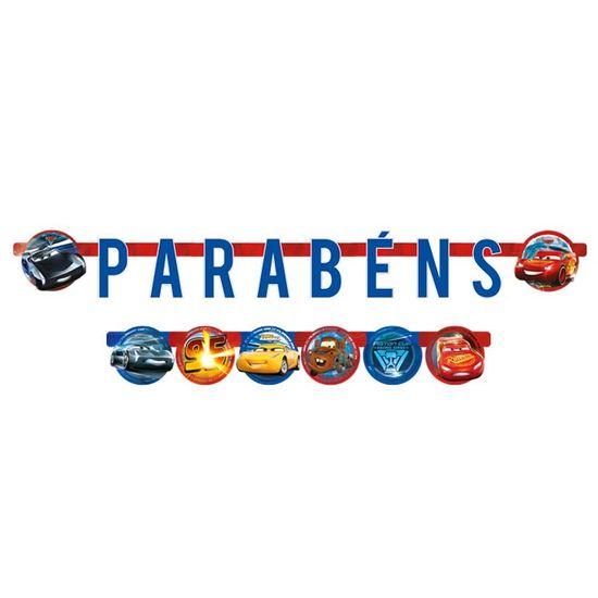 Festa Carros Disney - Faixa Parabéns Cars Disney 3
