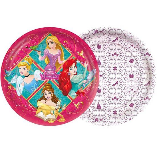 Festa Princesas Disney - Prato Descartável Princesas Amigas - 08 Un