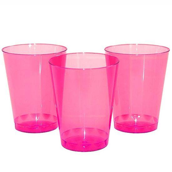Copo Plástico 200ml Elegance Neon Rosa - 10 unidades