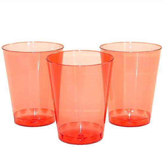 Copo Plástico 200ml Elegance Neon Vermelho - 10 Un