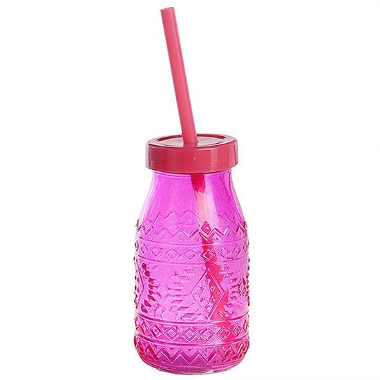 Garrafinha de Vidro com Tampa e Canudo - Pink