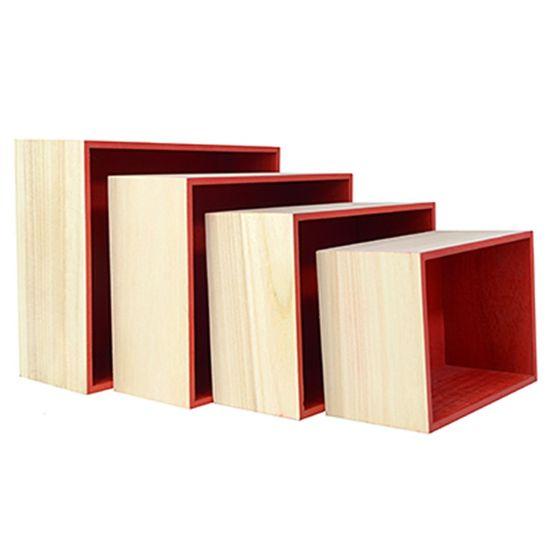 Kit de Suporte Quadrado Vermelho para Decoração - 4 peças