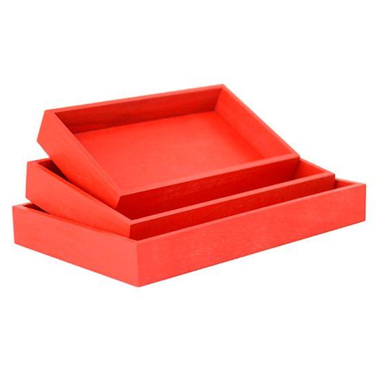 Kit de Suporte Retangular Vermelho para Decoração - 3 peças