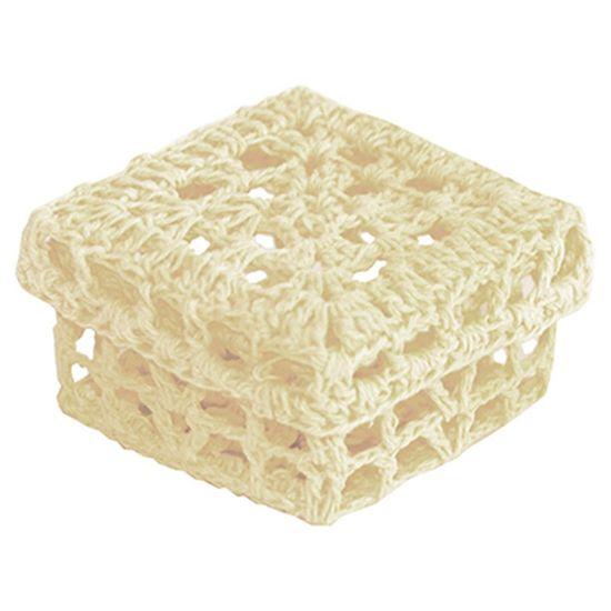 Mini Caixinha Quadrada de Crochê para Lembrancinha - Nude