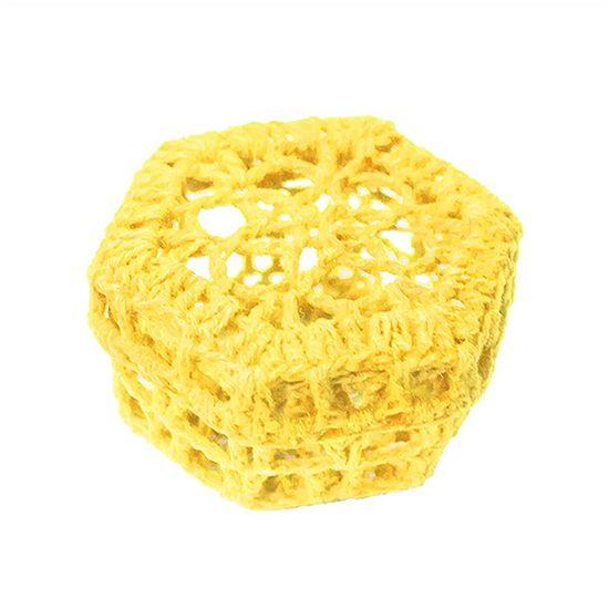 Mini Caixinha Sextavada de Crochê para Lembrancinha - Amarela