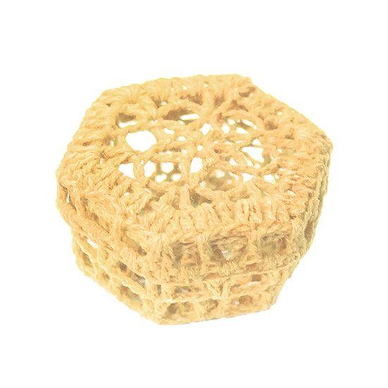 Mini Caixinha Sextavada de Crochê para Lembrancinha - Nude
