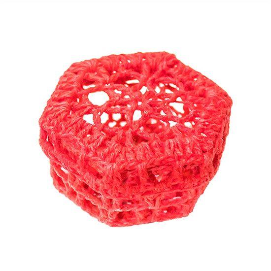 Mini Caixinha Sextavada de Crochê para Lembrancinha - Vermelha