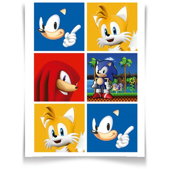 Adesivo Especial Quadrado Sonic - 12 unidades