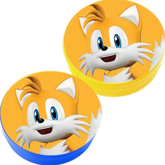 Festa Sonic - Latinha Plástica 5x1 Lembrancinha Sonic Tails Amarelo