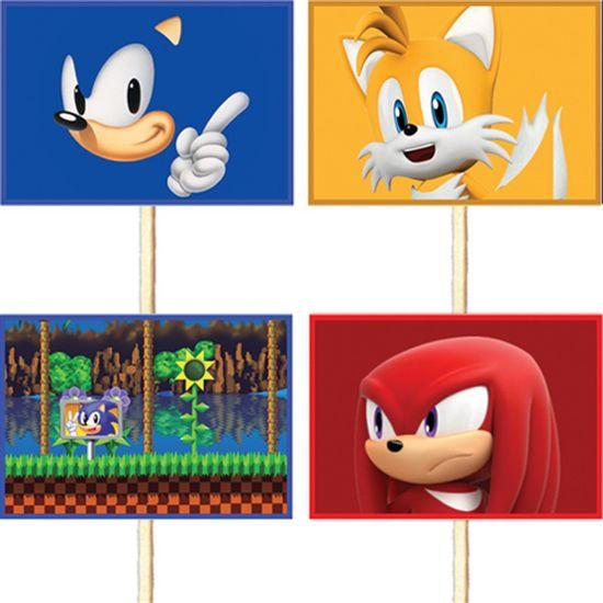 Festa Sonic - Lolipop para Cupcake Especial Sonic - 10 unidades