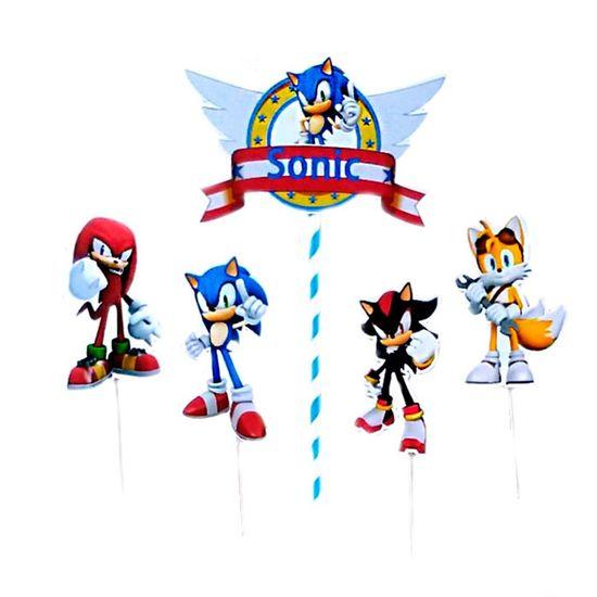 Festa Sonic - Enfeite para Topo de Bolo Sonic - 03 unidades