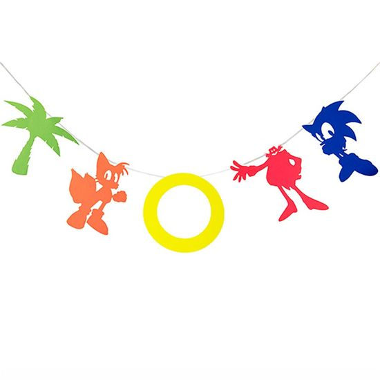 Festa Sonic - Bandeirola Artesanal Cartonada Sonic - 2.8 Metros