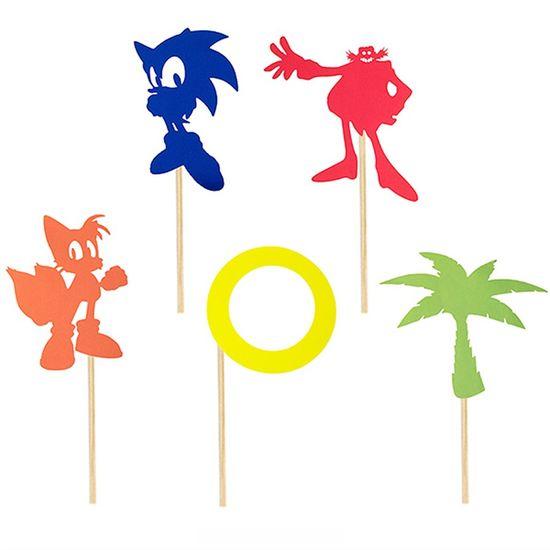 Festa Sonic - Enfeite Decorativo no Palito Sonic M - 05 Un