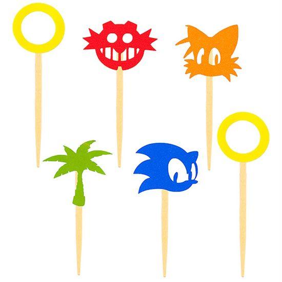Festa Sonic - Enfeite para Doces no Palito Sonic - 06 Un
