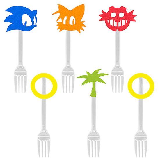 Festa Sonic - Garfo para Sobremesa com Aplique Sonic - 06 Un