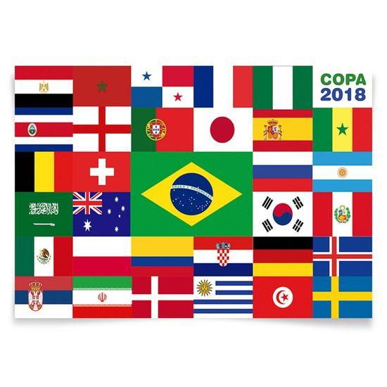 Painel Horizontal Países da Copa 2018 - 106x75cm