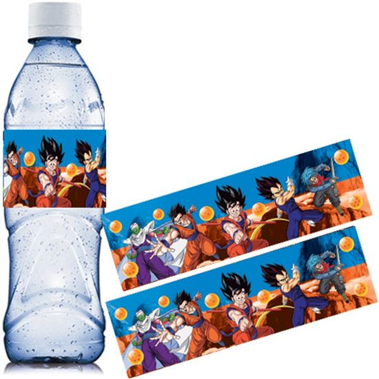 Festa Dragon Ball Super - Adesivo Especial Água Mineral Dragon Ball - 06 unidades