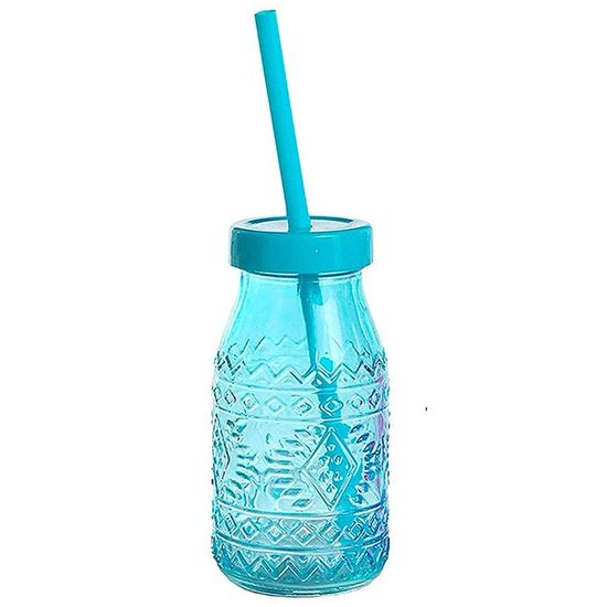 Garrafinha de Vidro com Tampa e Canudo - Azul