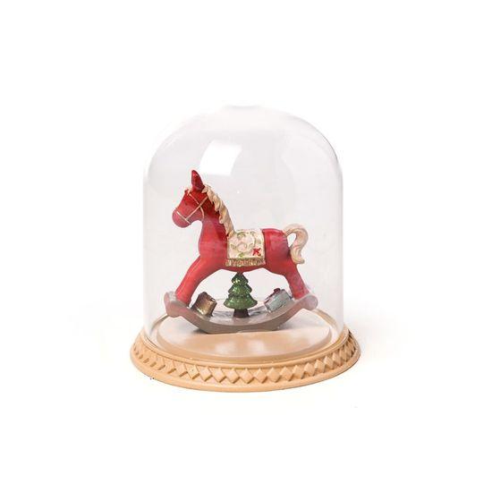 Cavalo de Brinquedo Cúpula de Vidro Colorido (Santa Claus) - 1 Unidade