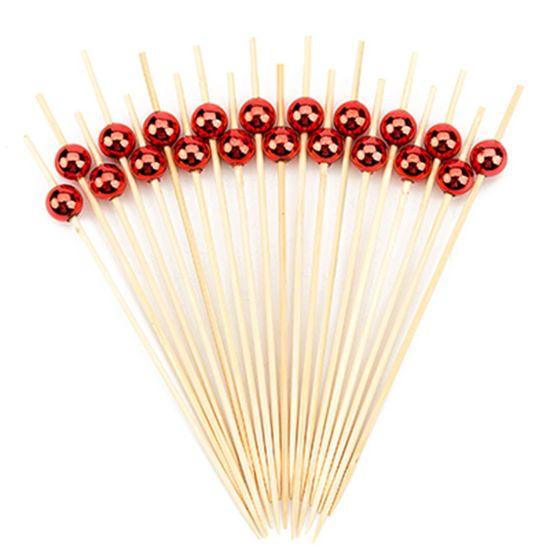 Palito em Bambu para Petiscos (12,5cm) Bolinha Metalizada Vermelha - 20 unidades