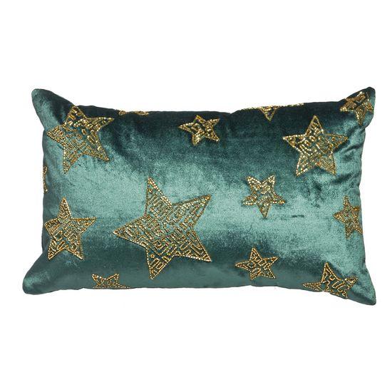 Capa para Almofada Estrelas Verde e Ouro 50X30cm (Lush) - 1 Unidade