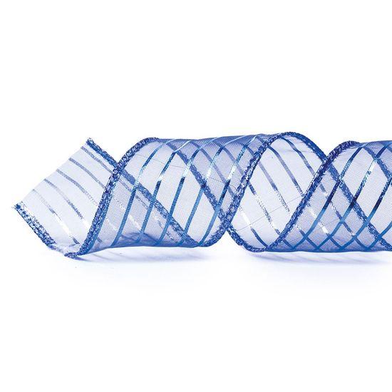Fita Voal Listras Azul Escuro 3,8 cm x 9,14 mts (Fitas Natalinas) - 3 Un