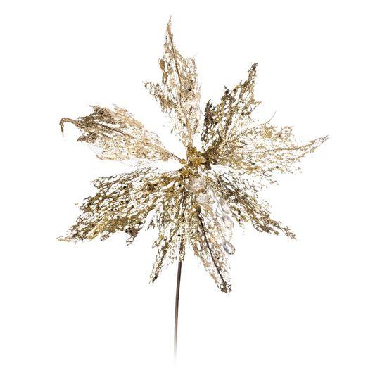 Poinsetia com Glitter Ouro e Branco - 1 Un