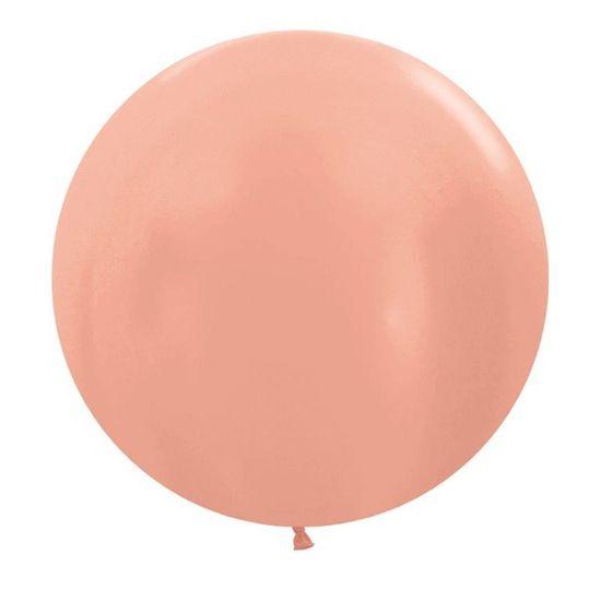 Balão Gigante Látex Metal Rose Gold R24 / 60 cm - 3 Unidades