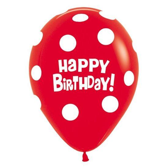 Balão Látex Impressão 360 Fashion Happy Birthday Bolinhas Sortida R12 / 30 cm - 50 Un