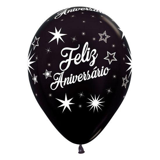 Balão Látex Impressão 360 Metal Feliz Aniversário Deluxe Sortido R12 / 30 cm - 12 Unidades