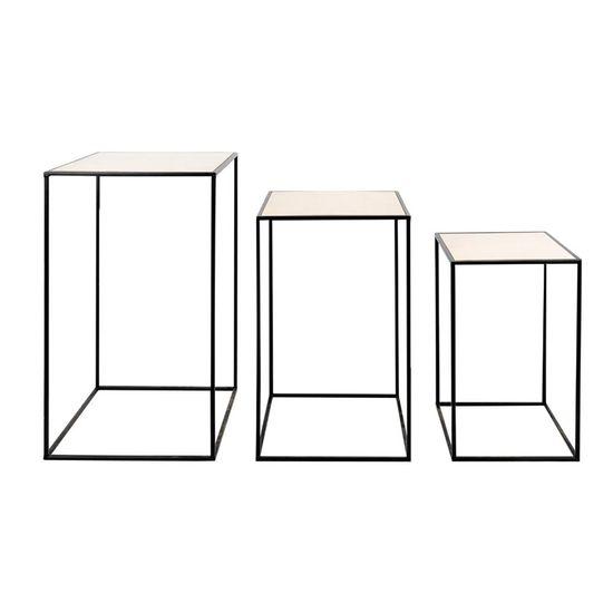 Conjunto de Mesas Quadradas Preto - Jogo com 3 Peças