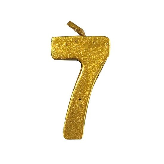 Vela Mini n° 7 Metalizado Ouro