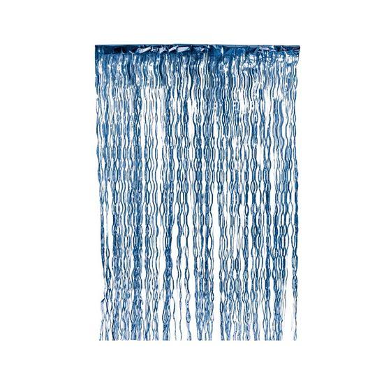 Cortina Decorativa Metalizada Azul Escuro - 1 Unidade