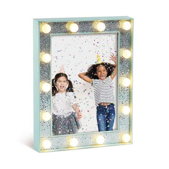 Porta Retrato com Led Azul Claro Médio 17x3x22