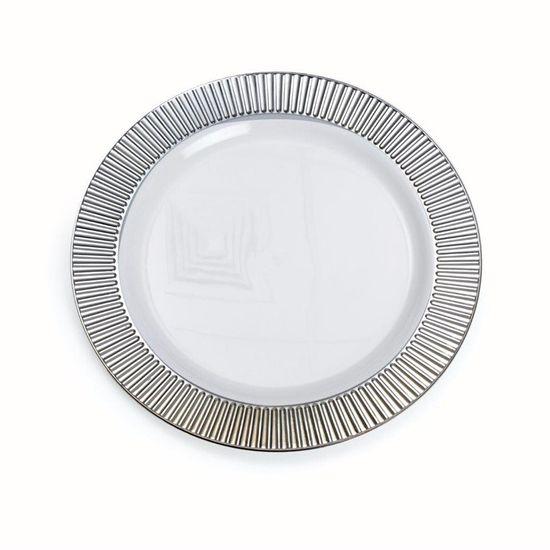 Linha Premium Prato Branco com Borda Prata 26 cm - Pacote com 6 Unidades