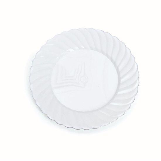 Linha Premium Prato Branco com Detalhe Prata 18 cm - 6 Un