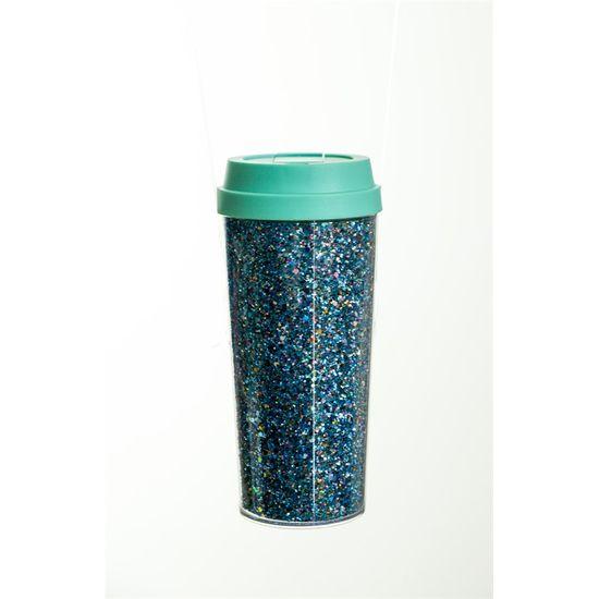 Copo Gift Glitter Azul 8,5x18,5 - 1 Unidade