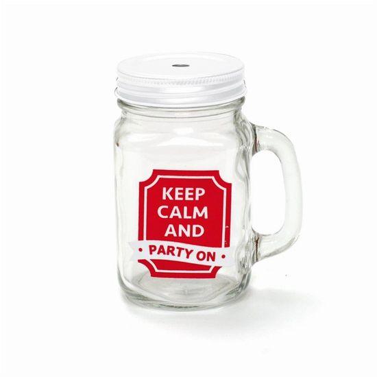 Caneca de Suco Transparente Keep Calm Vermelho 10,5x8,5x13,5 - 1 Unidade