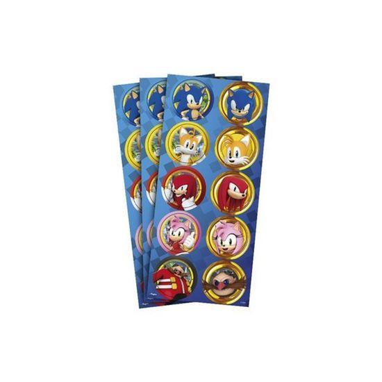 Adesivo Decorativo Redondo Sonic - 3 Cartelas