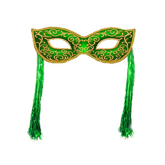 Máscara Cartonada Verde com Fitilhos Laminado Enfeite Painel Decorativo - 1 Unidade